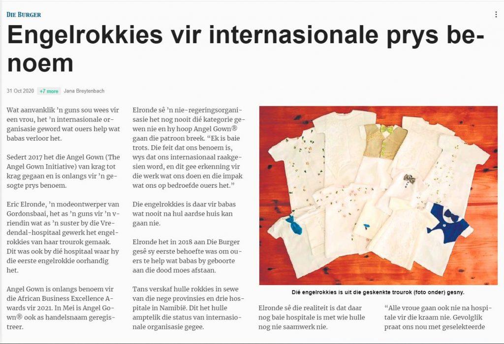 Die Burger - Engelrokkies vir internasionale prys benoem (pg1) - 31 Oct 2020